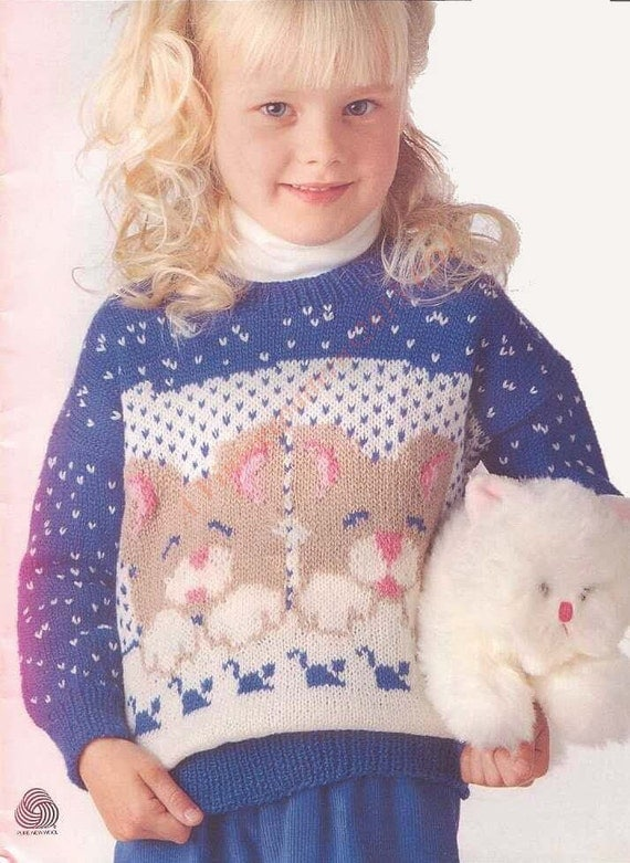 Kids Cat Motif Jumper Knitting Pattern by VintagePatterns2015