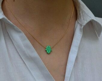 OPAL HAMSA NECKLACE // Kiwi Opal Hand Necklace - Hand Of Hamsa Necklace - Opal Necklace - Evil Eye Necklace - Hamsa Charm Necklace Gold
