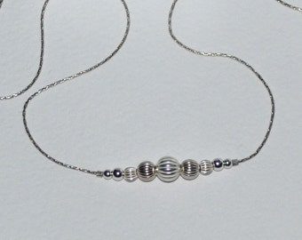 BEADED BAR Necklace Silver // Tiny Silver Necklace - Long Bar Necklace - Dainty Beaded Necklace - Horizontal Bar Necklace