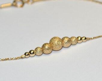 Gold BEADED BAR Bracelet // Beaded Bracelet - 14k Gold Filled Bracelet - Horizontal Bar Bracelet - Minimalist Bracelet