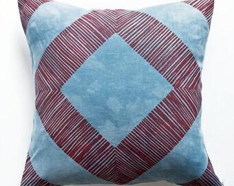 """16"""" x 16"""" Geometric Pillowcase - Set of 2 // linen throw pillow zippered screenprint blue home decor gift"""