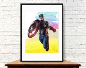 Captain america Wall Art ,Printable Art, Inspirational Quote, Typography Art, Digital Prints,Wall Art Prints, Digital Download