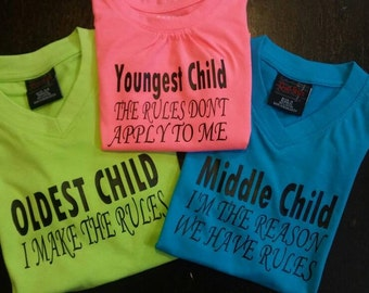 Oldest, middle, youngest child shirt set - 3 shirts