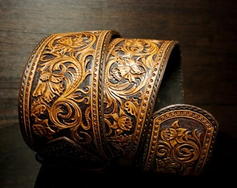 Hand-tooled leather belt, woman's leather belt, leather hand-carved belt, sheridan belt,  sheridan leather waistbelt
