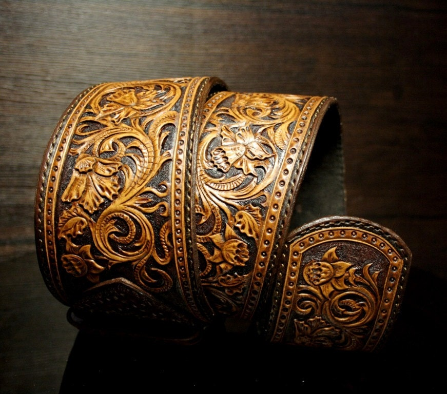 Hand tooled leather belt woman s
