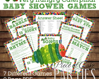 Very Hungry Caterpillar Party Baby Shower Games Sheets *INSTANT DIGITAL DOWNLOAD*