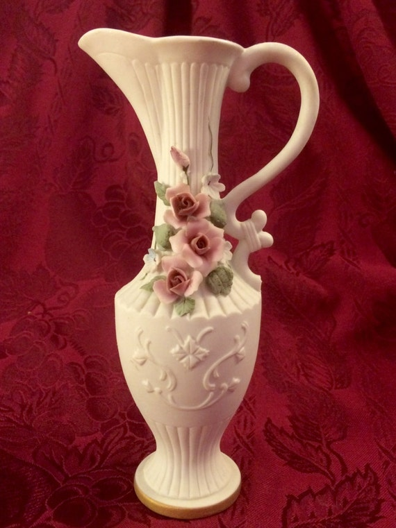 Lefton Bisque Porcelain Ewer Vase With Capodimonte Style Pink