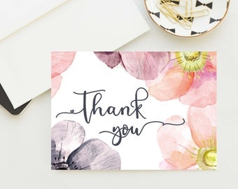 Floral thank you card, Set of 5 thank you cards, Soft Matte cards, Pink floral cards, Thank you gift, watercolour print, watercolor flowers