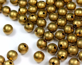 6mm Round Brass Beads 100, 500, 1000 pcs - Brass Balls - Raw Brass Beads