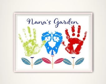 Nana Gift, Gifts for Nana from Grandkids, Personalized Gift From Kids, INSTANT Download PDF, Personalized Nana Handprint Art, Christmas Gift