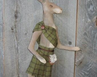 Scottish Hare Rabbit Soft Sculpture Doll Primitive with Kilt Hamish