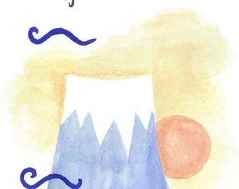 Sunrise Behind Mt Fuji Original Watercolor & Ink Painting