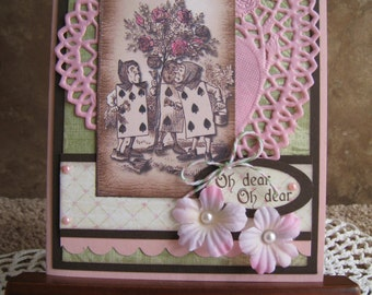 Alice in Wonderland - Painting the Roses Red - Handmade Card - Vintage