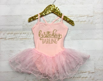 Glitter Leotard Tutu Birthday Darling First Birthday Tutu - Pink