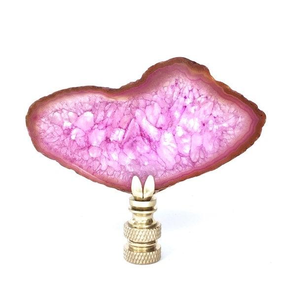 Agate Home Decor Lamp Finial Pink Druzy Stone And By ClarkThomason
