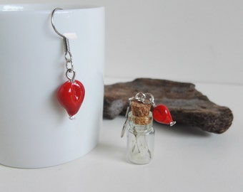 Earrings with ampoule and red heart handmade Murano glass