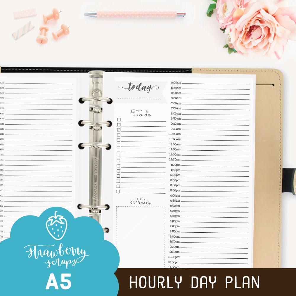 Hourly planner inserts A5: HOURLY DAY PLAN Daily