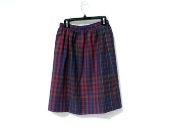 70s/90s Colorful Plaid Wool Skirt High Waist Secretary Mad Men Classic Button Closure Small Skirt