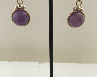 Brass and sterling silver dangle fish hook earrings with amethyst.
