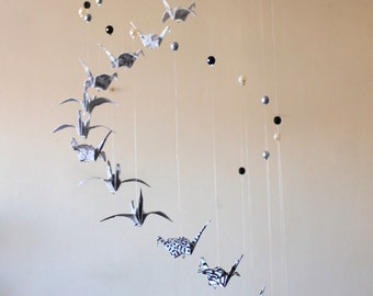 Mobile origami cranes 18 black, grey, white, and beads - mobile Suspension