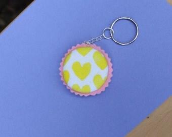 Lemon Hearts Handprinted Fabric Macaroon Keyring