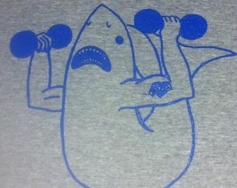 Body builder shark t-shirt