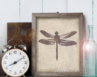 Dragonfly Art - Rustic Wall Decor - 8x10 printable digital file - INSTANT DOWNLOAD!
