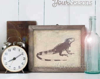 Iguana Print - Rustic Wall Decor - 8x10 printable digital file - INSTANT DOWNLOAD!