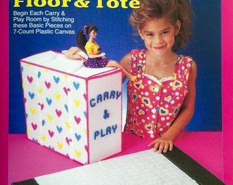Barbie Fashion Doll Carry and Play - Floor and Tote Plastic Canvas Pattern - The Needlecraft Shop #933726