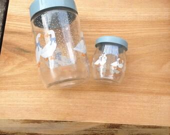 Pair of Vintage Le Parfait France Geese Glass Storage Jars. Excellent Condition.