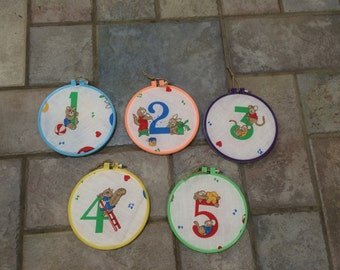 Bright Primary Number 1-9 Animal Character Hoops (Set of 5) Plaques