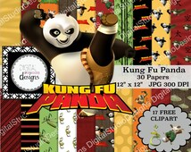 "Kung Fu Panda Digital Paper Pack - 30 Papers - 17 Clipart - SIZE 12""x12"" - Printable Paper - Digital Scrapbooking - Instant Download -"