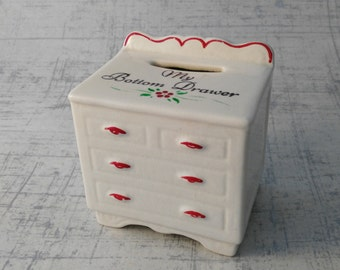 Bottom Drawer Money Box - Vintage Piggy Bank - Engagement Gift - Novelty Money Bank -  Miniature Chest of Drawers - Gift Her Woman Lady