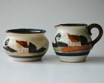 Torquay style mottoware - sugar bowl and jug - made in Japan
