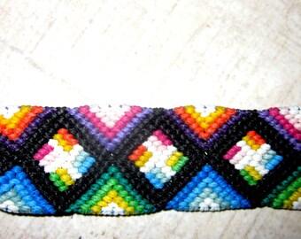 Multi-Colored Pinwheel Woven Friendship Bracelet Pinwheel Macrame Bracelet
