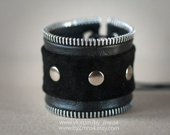 Handmade leather and suede bracelet with zip. Metal, rock.