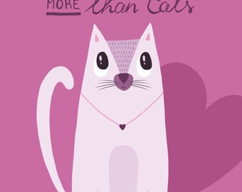 I Love You More Than Cats - Valentine's Day Card