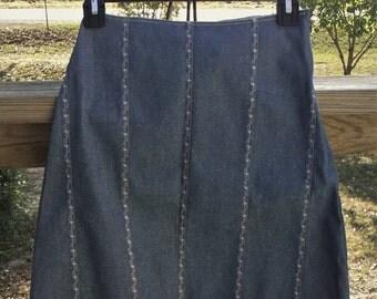 denim skirt, modest skirt, hiphugger skirt, midi skirt, blue jean skirt, girls skirt, gift for girls, modest clothing, girls clothing