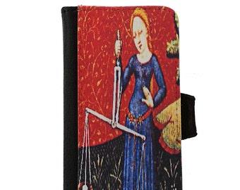 Libra Scales Zodiac iPhone Wallet Phone Case or Samsung Galaxy Wallet Phone Case - Libra Zodiac Phone Case - Libra Astrology Phone Case