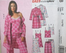McCall's pattern, new, misses robe, top, nightgown, belt, shorts and pants, sleepwear, size Lg, Xlg