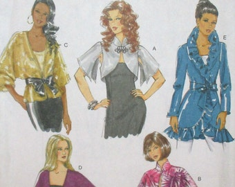 Butterick pattern, new, misses jacket and belt, jacket neckline variations, very loose fitting jacket, size Lrg, Xlg, Xxl