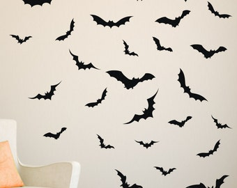 28 pc | Bat Wall Decals | Bat Decals | Bat Stickers | Halloween Wall Decals | Halloween Decorations | Halloween Decals | Haunted House Decal