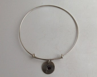 Sterling Bangle Bracelet - Paw Charm Only  - Solid Sterling Bracelet Only - Adjustable  - Stamped - Free Shipping