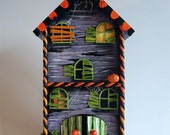 Hand Painted Haunted Halloween House  Pumpkins Headstones Graveyard Spooky Creepy Horror Jack OLantern Blood