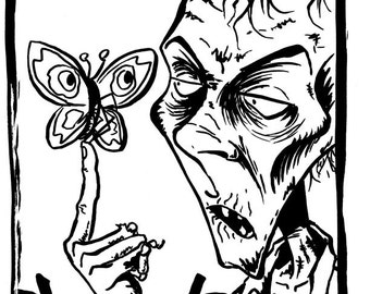 A Life Remembered - One off original pen and ink illustration A4 - Zombie Butterfly The Walking Dead Undead Horror Halloween