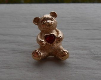 Vintage Gold Bear Pin W/ Red Rhinestone Heart. Gift For Mom, Anniversary. Teddy Bear, Gold