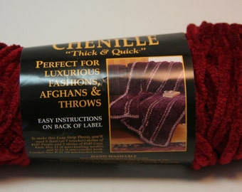 Lion Brand Yarn - Chenille Thick and Chunky Yarn - Wine