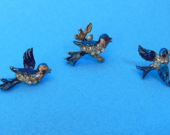 Vintage Bluebird Scatter Pin Set from the 1950's
