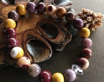 Mookaite and Herkimer Diamond Bracelet