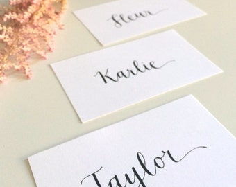Place Card Calligraphy - Flat White Cards with Names in Black - for weddings, special events, etc.